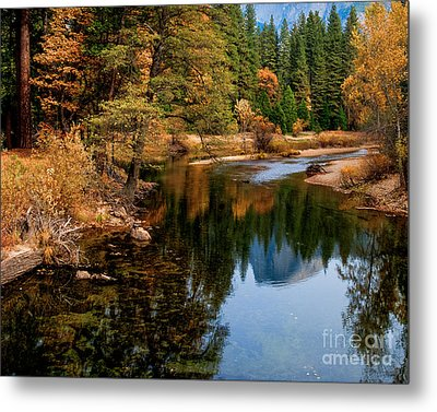 Merced River And Half Dome Metal Print by Terry Garvin