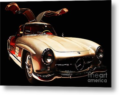 Mercedes 300sl Gullwing . Front Angle Black Bg Metal Print by Wingsdomain Art and Photography