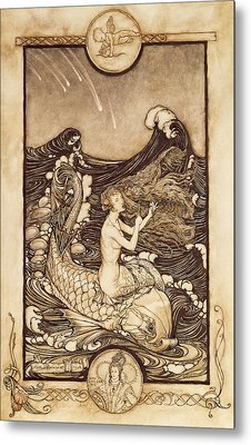 Mermaid And Dolphin From A Midsummer Nights Dream Metal Print by Arthur Rackham