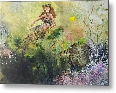 Mermaid And Friends Metal Print by Nancy Gorr
