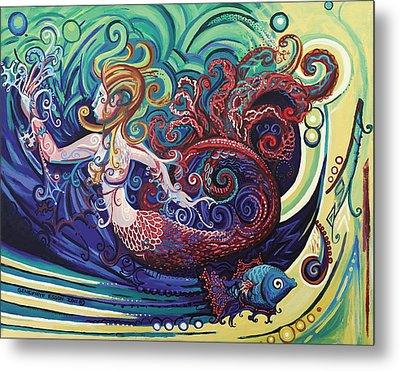 Mermaid Gargoyle Metal Print by Genevieve Esson