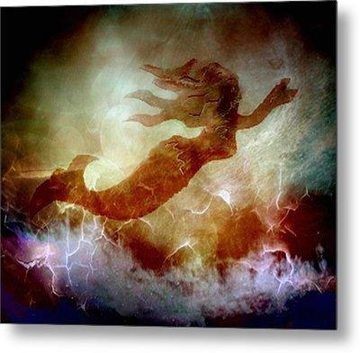 Mermaid In A Storm Metal Print by Irma BACKELANT GALLERIES