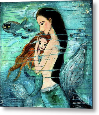 Mermaid Mother And Child Metal Print by Shijun Munns