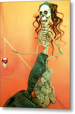 Mermaid On The Rocks Metal Print by Sandra Lewis