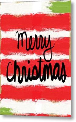 Merry Christmas- Greeting Card Metal Print by Linda Woods