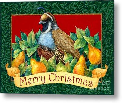 Merry Christmas Partridge Metal Print by Randy Wollenmann