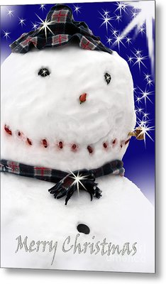 Merry Christmas Snowman Metal Print by Cathy  Beharriell