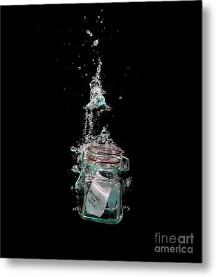 Message In Sinking Bottle Metal Print by Simon Bratt Photography LRPS