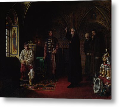 Metropolitan Philip Of Moscow 1507-90 With Tsar Ivan The Terrible 1530-84 Oil On Canvas Metal Print by Jakov Prokopyevich Turlygin
