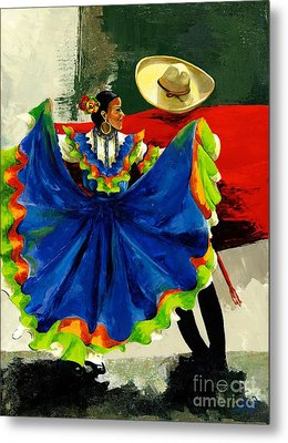 Mexican Dancers Metal Print by Elisabeta Hermann
