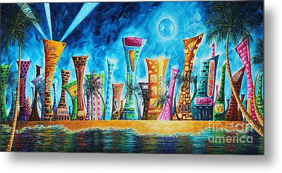 Miami City South Beach Original Painting Tropical Cityscape Art Miami Night Life By Madart Absolut X Metal Print by Megan Duncanson