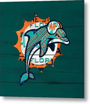 Miami Dolphins Football Team Retro Logo Florida License Plate Art Metal Print by Design Turnpike