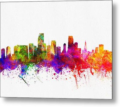 Miami Florida Skyline Metal Print by Aged Pixel