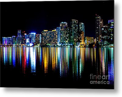 Miami Skyline High Res Metal Print by Rene Triay Photography