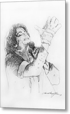 Michael Jackson Passion Sketch Metal Print by David Lloyd Glover
