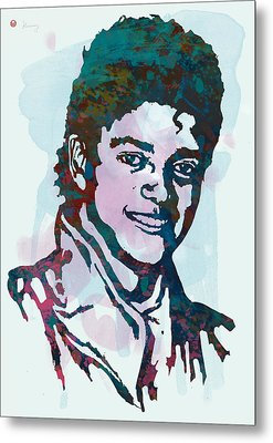 Michael Jackson Stylised Pop Art Poster Metal Print by Kim Wang