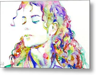 Michael Jackson - Watercolor Portrait.6 Metal Print by Fabrizio Cassetta