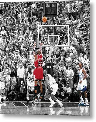 Michael Jordan Buzzer Beater Metal Print by Brian Reaves