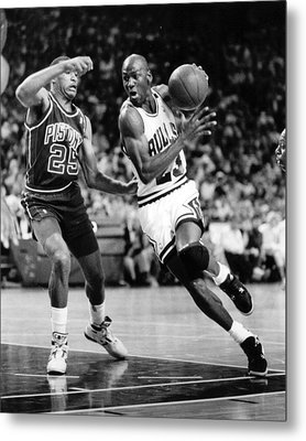 Michael Jordan Driving To The Basket Metal Print by Retro Images Archive