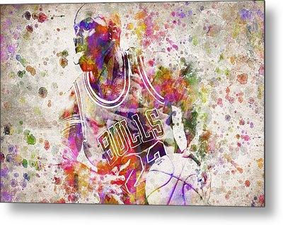 Michael Jordan In Color Metal Print by Aged Pixel
