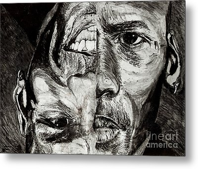 Michael Jordan  Reversible Game Faces Metal Print by Israel Torres
