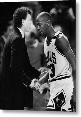 Michael Jordan Talks With Coach Metal Print by Retro Images Archive