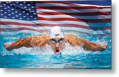 Michael Phelps Artwork Metal Print by Sheraz A