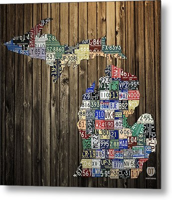 Michigan Counties State License Plate Map Metal Print by Design Turnpike