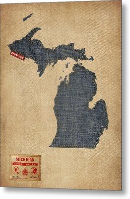 Michigan Map Denim Jeans Style Metal Print by Michael Tompsett