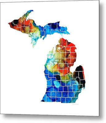 Michigan State Map - Counties By Sharon Cummings Metal Print by Sharon Cummings