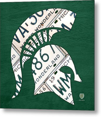 Michigan State Spartans Sports Retro Logo License Plate Fan Art Metal Print by Design Turnpike