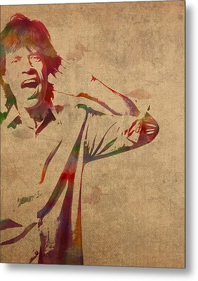 Mick Jagger Rolling Stones Watercolor Portrait On Worn Distressed Canvas Metal Print by Design Turnpike