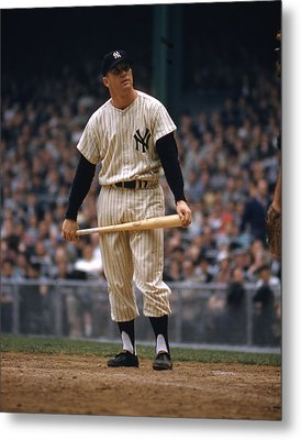 Mickey Mantle In Yankee Stadium Metal Print by Retro Images Archive