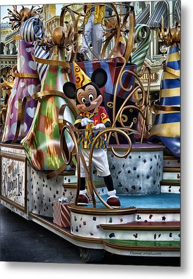 Mickey Mouse On His Celebrate It Float Metal Print by Thomas Woolworth