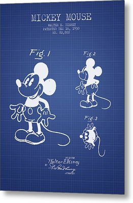 Mickey Mouse Patent From 1930- Blueprint Metal Print by Aged Pixel