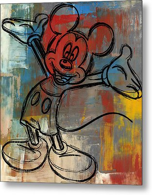 Mickey Mouse Sketchy Hello Metal Print by Paulette B Wright
