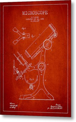 Microscope Patent Drawing From 1886 - Red Metal Print by Aged Pixel