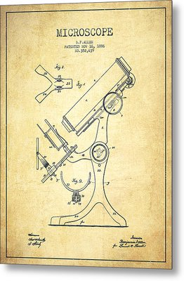 Microscope Patent Drawing From 1886 - Vintage Metal Print by Aged Pixel