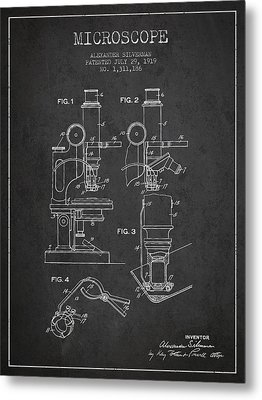 Microscope Patent Drawing From 1919- Dark Metal Print by Aged Pixel