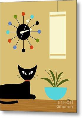 Mid Century Ball Clock 2 Metal Print by Donna Mibus
