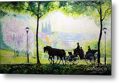 Midday Walk In The Petrin Gardens Prague Metal Print by Yuriy Shevchuk