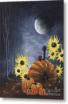 Midnight In The Pumpkin Patch By Shawna Erback Metal Print by Shawna Erback