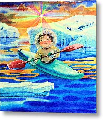 Midnight Sun Kayaker Metal Print by Hanne Lore Koehler