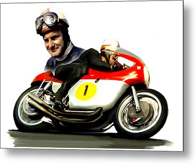 Mike The Bike  Mike Hailwood Metal Print by Iconic Images Art Gallery David Pucciarelli