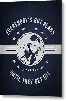 Mike Tyson - Navy Blue Metal Print by Aged Pixel