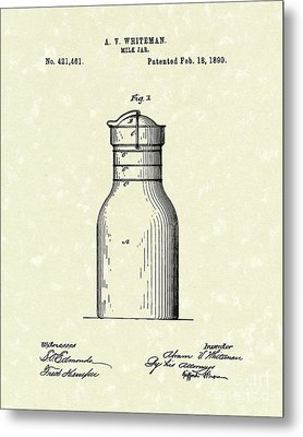 Milk Jar 1890 Patent Art Metal Print by Prior Art Design