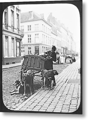 Metal Print featuring the photograph Milk Wagon Street Scene Germany C 1900 Vintage Photo by A Gurmankin