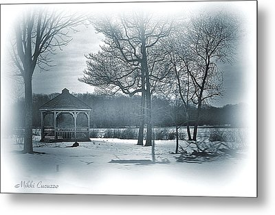 Mill Pond In Winter Metal Print by Mikki Cucuzzo