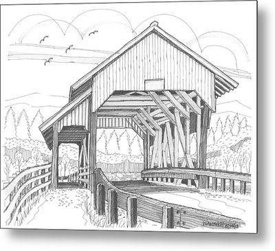 Miller's Run Covered Bridge Metal Print by Richard Wambach