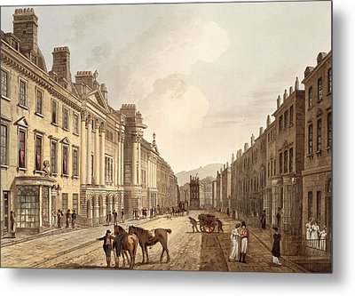 Milsom Street, From Bath Illustrated Metal Print by John Claude Nattes